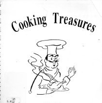 Image of Cooking Treasures - Cookbook developed and sold by the Oak Lawn Chamber of Commerce in 1994 to benefit children and adults with developmental disabilities at the Park Lawn School.  Cover is white with a drawing of a chef.