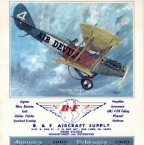 Image of B. & F. Aircraft Supply Calendar - This item is a calendar from B. & F. Aircraft Supply located at 6141 West 95th Street in Oak Lawn. It features images of a number of different airplanes as well as historical information.