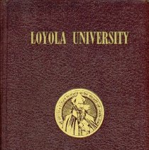 Image of Loyola University Alumni Directory - This item is a directory published by the Loyola University Alumni Association in 1943.  The inside cover features a notation and the signature of early Oak Lawn educator Wiley Simmons.  His name is also featured on page 155 of the directory.