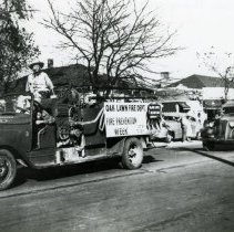 Image of Oak Lawn Fire Department Fire Truck - This is a photograph of an Oak Lawn Fire Department fire truck being driven in the Round-Up Days parade.