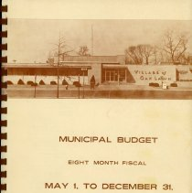 Image of Adopted Village Budget, 1968 - This item is the adopted May 1st to December 31st 1968 budget for the Village of Oak Lawn.  The document is 90 pages long, has multi-colored paper, and a white cover.