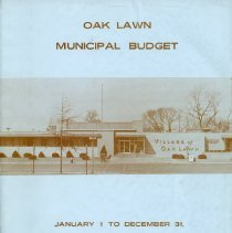 Image of Adopted Village Budget, 1969 - This item is the adopted January 1st to December 31st 1969 budget for the Village of Oak Lawn.  The document is 93 pages long, has multi-colored paper, and a white cover.