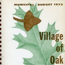Image of Adopted Village Budget, 1973 - This item is the adopted 1973 budget for the Village of Oak Lawn.  The document is 121 pages long, has multi-colored paper, and a white cover.