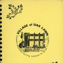 Image of Adopted Village Budget, 1977 - This item is the adopted 1977 budget for the Village of Oak Lawn.  The document is 131 pages long, has multi-colored paper, and a light brown cover.