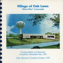 Image of Adopted Village Budget, 1979 - This item is the adopted 1979 budget for the Village of Oak Lawn.  The document is 137 pages long, has multi-colored paper, and the Oak Lawn Pumping Station on the cover.