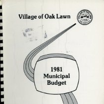 Image of Adopted Village Budget, 1981 - This item is the adopted 1981 budget for the Village of Oak Lawn.  The document is 165 pages long, has multi-colored paper, and a light brown cover.