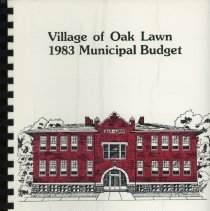 Image of Adopted Village Budget, 1983 - This item is the adopted 1983 budget for the Village of Oak Lawn.  The document  is 106 pages long, has multi-colored paper, and Cook School on the cover.