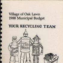 Image of Adopted Village Budget, 1988 - This item is the adopted 1988 budget for the Village of Oak Lawn.  The document is 158 pages long, has plain white paper, and a grey cover.