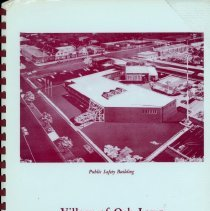 Image of Adopted Village Budget, 1989 - This item is the adopted 1989 budget for the Village of Oak Lawn.  The document is 149 pages long, has plain white paper, and a green cover featuring an image of the Public Safety Building (Village Hall).