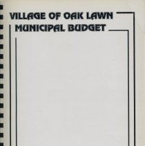 Image of Adopted Village Budget, 1992 - This item is the adopted 1992 budget for the Village of Oak Lawn.  The document  is 193 pages long, has plain white paper, and a grey cover.