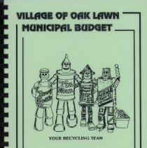 Image of Adopted Village Budget, 1994 - This item is the adopted 1994 budget for the Village of Oak Lawn. The document is 205 pages long, has plain white paper, and a green cover featuring cartoon characters.