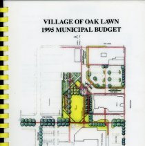 Image of Adopted Village Budget, 1995 - This item is the adopted 1995 budget for the Village of Oak Lawn.  The document is 199 pages long, has plain white paper, and an architectural drawing on the front.