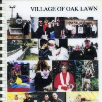 Image of Adopted Village Budget, 2001 - This item is the adopted 2001 budget for the Village of Oak Lawn. The document is 184 pages long, has plain white paper, and a collage of photographs on the front.