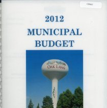 Image of Adopted Village Budget, 2012 - This item is the Village of Oak Lawn 2012 municipal budget.  The document contains charts, graphs, and statistics related to village finances.  It is composed of plain white paper and has an image of the village water tower on the cover.