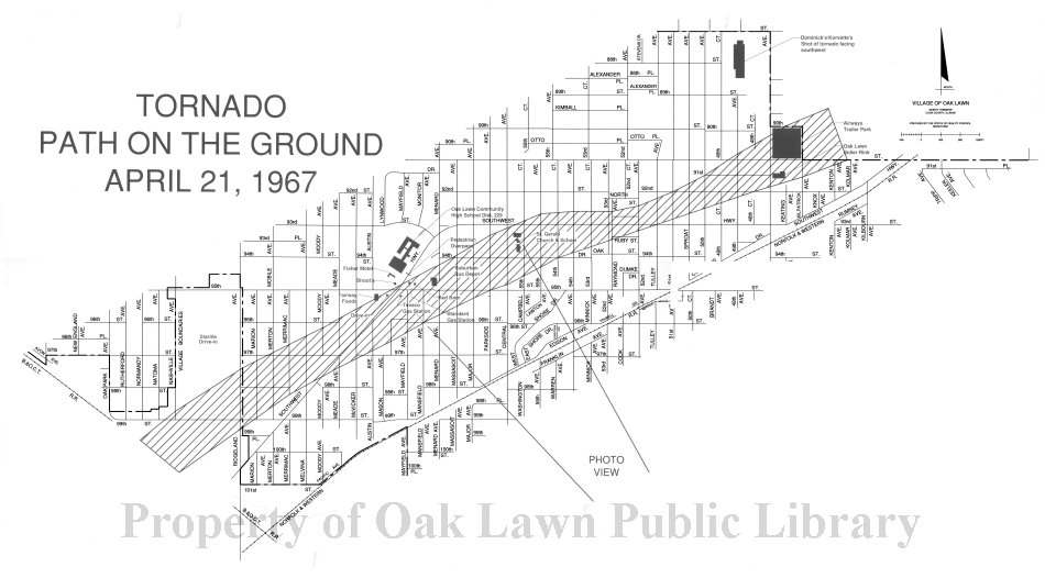 1967 Map of the Oak Lawn Tornado This item is a map of the path