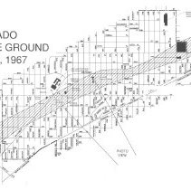 Image of 1967 Map of the Oak Lawn Tornado - This item is a map of the path followed by the 1967 Oak Lawn Tornado. It details the areas most devastated by the Tornado as it crossed the village.