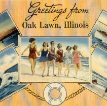 """Image of Greetings from Oak Lawn Illinois Postcard - This item is a postcard of Oak Lawn, Illinois.  The front says """"Greetings from Oak Lawn"""" and has a number of small recreational related pictures on it.  The postcard was mailed on September 19th, 1946, and there is a message on the back along with a one cent stamp."""