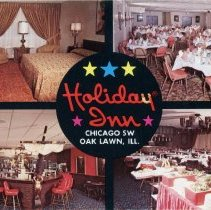 Image of Holiday Inn Postcard - This item is a postcard of the Oak Lawn Holiday Inn located at 4140 W. 95th St.  There is a note written on the back and it was sent in August of 1973.
