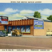 Image of Sparkl Drive Laundry Postcard - This item is a postcard of the Sparkl Drive-in Laundry located at 5114 W. 95th Street in Oak Lawn.  There is an image of the business on the front with promotional information on the back.