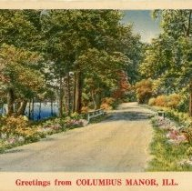 Image of Columbus Manor Postcard - This item is a postcard from Columbus Manor (later incorporated into Oak Lawn).  The image on the front depicts a road going through a heavily wooded area, and there is also a body of water visible.  The back has no writing or information.