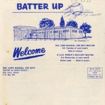 Image of Batter Up, 1963 - Newsletter of Oak Lawn Baseball for Boys for the year 1963.  Includes news items, announcements, rosters and advertisements.