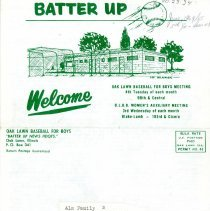 Image of Batter Up, 1964 - Newsletter of Oak Lawn Baseball for Boys for the year 1964.  Includes news items, announcements, rosters and advertisements.