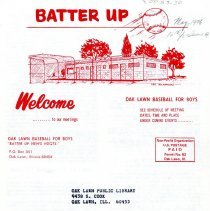 Image of Batter Up, 1976 - Newsletter of Oak Lawn Baseball for Boys for the year 1976.  Includes news items, announcements, rosters and advertisements.