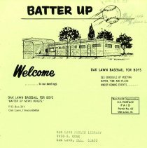 Image of Batter Up, 1977 - Newsletter of Oak Lawn Baseball for Boys for the year 1977.  Includes news items, announcements, rosters and advertisements.