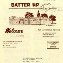 Image of Batter Up, 1978 - Newsletter of Oak Lawn Baseball for Boys for the year 1978.  Includes news items, announcements, rosters and advertisements.