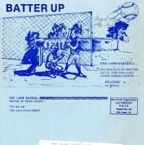 Image of Batter Up, 1979 - Newsletter of Oak Lawn Baseball for Boys for the year 1979.  Includes news items, announcements, rosters and advertisements.