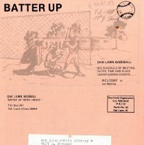 Image of Batter Up, 1980 - Newsletter of Oak Lawn Baseball for Boys for the year 1980.  Includes news items, announcements, rosters and advertisements.