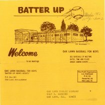 Image of Batter Up, 1982 - Newsletter of Oak Lawn Baseball for Boys for the year 1982.  Includes news items, announcements, rosters and advertisements.