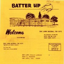 Image of Batter Up, 1984 - Newsletter of Oak Lawn Baseball for Boys for the year 1984.  Includes news items, announcements, rosters and advertisements.