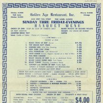 Image of Golden Age Restaurant Menu, 1973 - This item is a menu from the Golden Age Restaurant located at 4545 West 95th Street in Oak Lawn.  It is blue in color and features food options as well as prices.