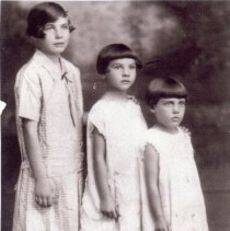 Image of Vallera Family - This is a photograph of the Vallera Family.  From left to right are Jeanette, Lydia, and Evelyn.