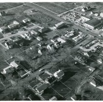 Image of Aerial Photograph of Audris Residence Located on Central Avenue - Aerial view of the Audris residence located on Central Avenue taken in 1957. Haggerty-Loftus Ford, located at 5600 West 95th Street, is visible near the top right corner.