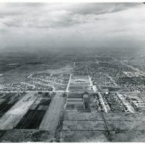 Image of Aerial Photograph Looking West of 99th and Cicero Avenue - Aerial photograph looking west toward the intersection of 99th Street and Cicero Avenue in 1953.  Sward school is visible in the center of the photograph, and 95th Street can be seen to the north.