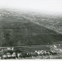 Image of Aerial Photograph of Persons Oakdale Subdivision - Aerial Photograph of Persons Oakdale Subdivision in 1957.  Oakdale Street is visible in the photograph, as well as the Twin Drive-In Theater (located in the distance).