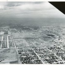 Image of Aerial Photograph near 99th Street and Pulaski Avenue - Aerial Photograph looking west near the intersection of 99th Street and Crawford Avenue (now Pulaski) located in the lower left of the photo in 1953.