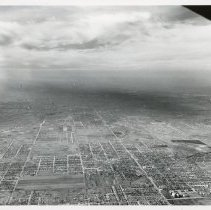 Image of Aerial Photograph of 95th Street - Aerial photograph looking west along 95th Street in Evergreen Park in 1953.  Little Company of Mary Hospital in visible in the foreground.