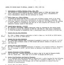 Image of Zoning Board of Appeals Minutes, 1960 - Minutes of the Oak Lawn Zoning Board of Appeals for the year 1960.