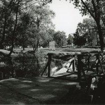 Image of View of foot bridge at Lake Shore Park - Photograph of the foot bridge at Lake Shore Park (Oak Lawn Lake) in 1967.