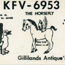 Image of Citizen's Band Radio Postcard - This item is a postcard from Citizen's Band Radio user Gillilands Antiques.  The front has information along with a drawing of a horse and duck while the back has several notes.