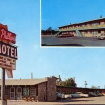 Image of Phillip's Motel Postcard - This item is a postcard from the Phillip's Motel located at 8450 South Cicero Avenue.  The front has an image of the motel while the back contains promotional information.