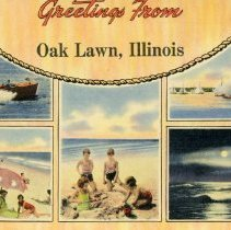 Image of Greetings from Oak Lawn Postcard - This item is a postcard from Oak Lawn featuring numerous beach and water scenes.  The back has no writing or information on it.