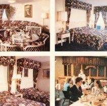 Image of Holiday Inn Postcard - This item is a postcard from the Oak Lawn Holiday Inn at 4140 West 95th Street.  The front has several images of rooms and the Knights Arms Restaurant while the back has promotional information.