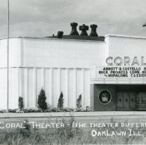Image of Coral Theater Postcard - This item is a postcard of the Coral Theater located near 95th Street and Cicero Avenue.  The front has an image of the theater while the back has a small amount of information.