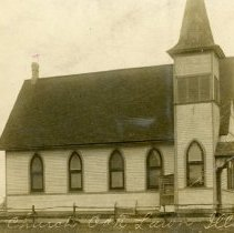 Image of Oak Lawn Congregational Church Postcard - This item is a postcard of the Oak Lawn First Congregational Church on 54th Avenue.  The front has an image of the church while the back has a personal message and war bond stamp.  Although the postcard was sent in 1917, the image could be from an earlier time.