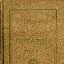 Image of Cook County School Directory, 1943-1944 - Directory of the public schools of Cook County, Illinois.  Contains information on schools and staff, including names and addresses of teachers and administrators, pension data, and certificate requirements for the school year 1943-44.  Cook School, Covington School, and Simmons School are mentioned, along with Principals Carl A. Sward and Wiley Simmons.