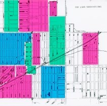 Image of 1960 Map of Oak Lawn's Subdivisions - Map of Oak Lawn's Subdivisions. This item contains a series of color shapes meant to represent different neighborhoods.